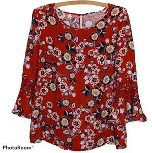 Valerie Stevens Floral Blouse Cutout Bell Sleeves